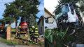 V Cholupicích havaroval fekální vůz na zahradě u domu. Zasahovala záchranka i hasiči