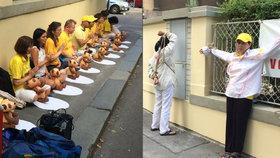 V Bubenči přivázali ženu k plotu. »Falun Gong« brojí proti vraždám v Číně