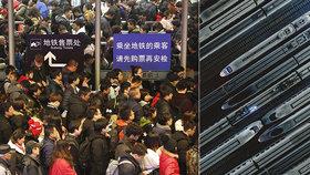 """V Číně začalo obří """"stěhování národů"""". Na novoroční svátky míří za rodinami 3 miliardy lidí"""