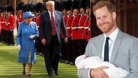 Novopečený otec princ Harry dostal pozvánku ke slavnostní tabuli. Na oběd královny a Trumpa
