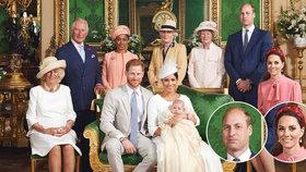 Kyselý William a úšklebek Kate: Co prozradila fotka ze křtin Archieho o švagrové Meghan?
