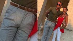 Romantické foto Beckhamových se zvrtlo: Lidé řeší obří bouli na kalhotech!