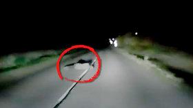 Tady šlo o život! Opilec ležel na silnici v úplné tmě, odtáhl ho duchapřítomný řidič