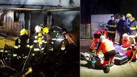 Muž se při požáru zaklínil mezi dveřmi: Kropení zahradní hadicí nepomohlo