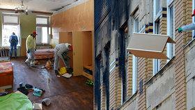 Ve Vejprtech začaly úklidové práce v domově pro postižené: Co neshořelo, to zničila voda