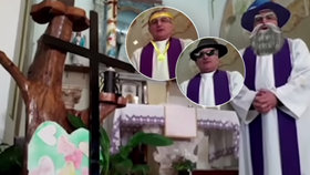 Kněz vysílal mši v podmínkách karantény: Nepodařené video už pobavilo miliony