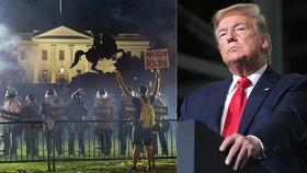 """Trump se schoval do bunkru. """"Trpíte chronickým rasismem,"""" šije Čína do USA po vraždě Floyda"""