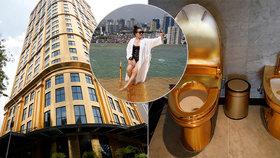 Nový luxusní hotel má zlaté i záchody. Bazén na střeše nabízí blyštivý výhled na Hanoj