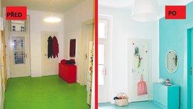 Proměna předsíně: Zářivě tyrkysová hned za dveřmi? Proč ne!