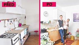 Proměna garsonky: Nové dveře na lince a bílá barva dokázaly zvětšit místnost