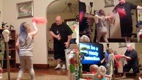 Ztřeštěný otec zachycen při hlídání dětí: Předvedl jim bláznivý taneček