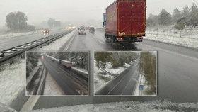 Husté sněžení a popadané větve. Počasí zaskočilo řidiče na západě Čech