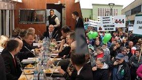 Zelené píšťalky, balónky a křik: Vláda v Ústí jednala o těžebních limitech