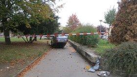 Řidič v Klatovech srazil chodce a začal ujíždět: Auto převrátil v parku na střechu