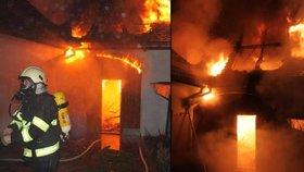 Masivní požár na Strakonicku: Oheň zasáhl tři střechy domů