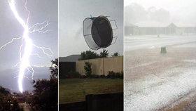 Šílená bouřka v Austrálii: Vichr si hrál s trampolínou, jako by to byl kus hadru