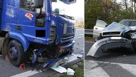 Drsná srážka osobáku s náklaďákem u Vsetína, řidič ji nepřežil