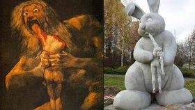 Šokující socha na plzeňském sídlišti: Králík žere pana Mrkvičku!