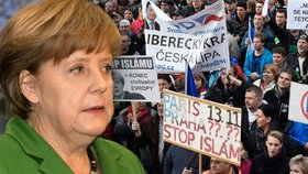 """Praha se chystá na Merkelovou. """"Do boje"""" vyrazí sluníčka i islamofobové"""