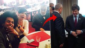 Střípky z topky: Feriho selfie, sklenička s diplomaty i zdravice od Merkelové