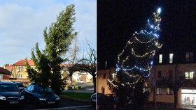 Nejhorší vánoční strom v Česku: Nakloněný smrk ohrožuje chodce i auta