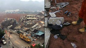 Obří sesuv půdy v Číně pohřbil 18 budov. Na pomoc vyrazilo 600 záchranářů