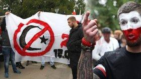 Hnědý pakt proti migrantům. Němečtí náckové a polští chuligáni bili sluníčkáře