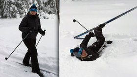 """Šlechtová """"zahučela"""" do hlubokého sněhu. Na běžkách zkoumala novou trasu"""