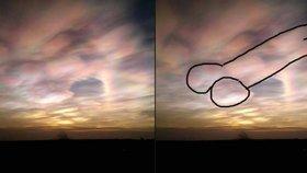 Pinďour v červáncích! Žena s velkou představivostí spatřila v oblacích masivní pyj