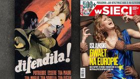 """""""Islám znásilňuje Evropu"""". Koláž s kráskou a migranty čelí v Polsku kritice"""