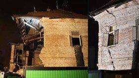 Kus domu ve Zlíně strhli, ale rozpadal se dál: Teď ho hasiči zbourají, evakuují okolní obyvatele
