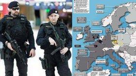 Mapa ohrožení: Evropa se bojí terorismu - kde hrozí nebezpečí?