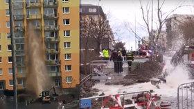 """Barrandov zažil """"potopu"""". Voda z překoplé trubky zaplavila sklepy"""