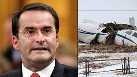Při nehodě letadla zemřel exministr dopravy. Letěl s rodinou na pohřeb otce