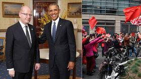 Sobotka v USA nabídl jaderné experty: Bez Putina, s čínskými mávači za zády