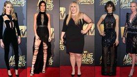 Temné róby na MTV Movie Awards: Na rudém koberci vévodila černá, objevila se ale i křiklavě růžová