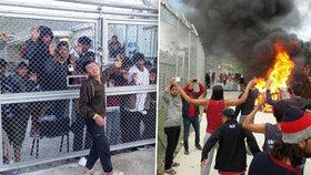 Zapálené popelnice, ohlušující granáty: Uprchlíci běsní kvůli návratu do Turecka