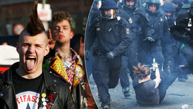 Krev a rozbité lahve. Poklidné demonstrace v Berlíně narušily potyčky s policisty