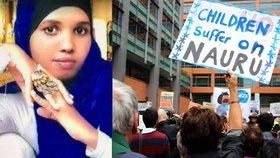 Mladá uprchlice se v táboře pokusila upálit. S ministrem její bolest ale nehnula