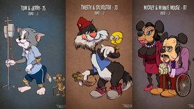 Tom a Jerry a Mickey Mouse jako důchodci: Kdyby animované postavičky zestárly