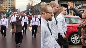 Žena se postavila pochodu neonacistů. Osamocená jim ukázala zdviženou pěst