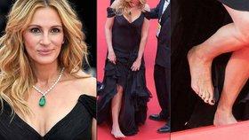Pretty Woman i bez střevíčků! Julia Roberts se po červeném koberci v Cannes prošla bosky