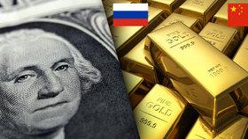 Rusko a Čína masivně skupují zlato: Připravují se na pád dolaru?