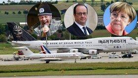 Letadlo Iron Maiden zesměšnilo stroje Merkelové a Hollandea. Internet plní vtípky