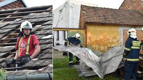 Větrná smršť ničila na Moravě střechy, domy musel prohlédnout statik