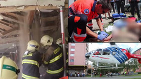 Spadlý strop v Prostějově zavalil dělníky: Musel pro ně vrtulník
