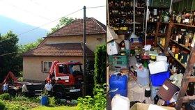 """Po mrtvém """"sběrateli"""" zbylo v domě na Brněnsku 10 tun nebezpečných chemikálií"""