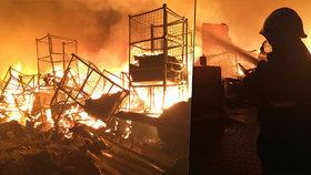 Obří požár skladu textilu na Olomoucku: 90 hasičů, 5 hodin boje s ohněm, 40 milionů škoda