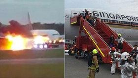 Letadlo začalo hořet po přistání: Na palubě bylo 222 pasažérů