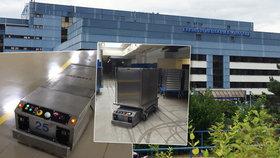 Podzemí nemocnice Motol: Vozy bez řidičů tu přepravují obědy, prádlo i odpad